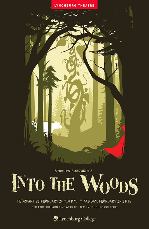 Program cover for Into the Woods, featuring a forest scene in which a white silhouette of a cow and a red cloak are visible.