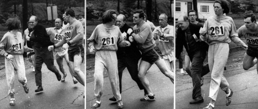 Series of three photos showing a man trying to pull Kathrine Switzer from the 1967 Boston Marathon