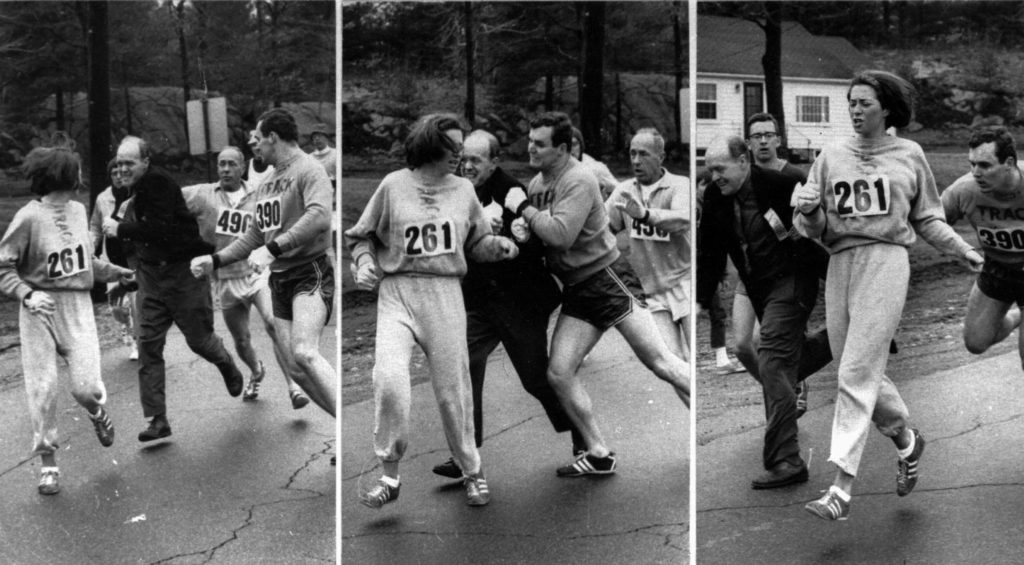 Three pictures, left to right, showing a race official trying to pull Kathrine Switzer from the 1967 Boston Marathon until another runner blocks the race official.