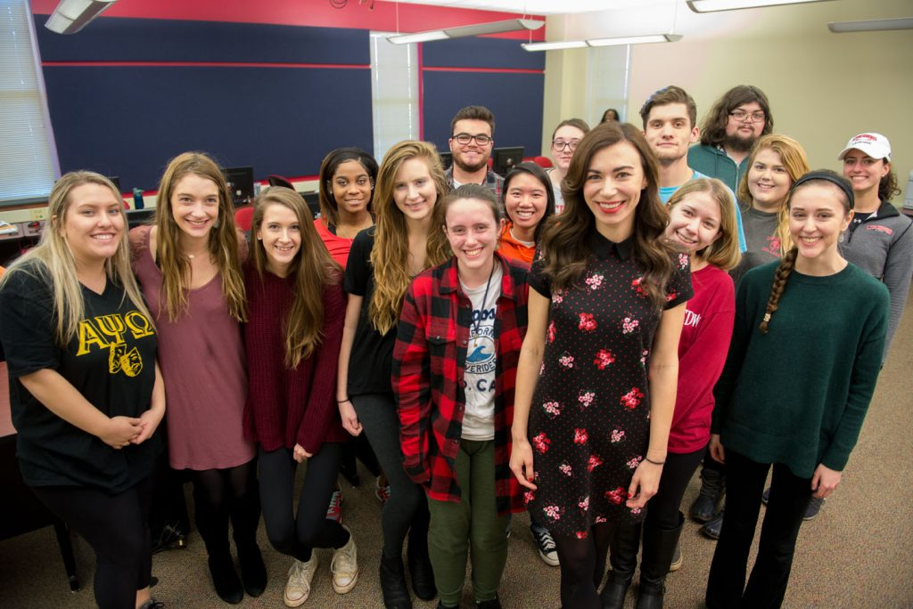 Ashley Hill from C-SPAN with students from a multimedia reporting class