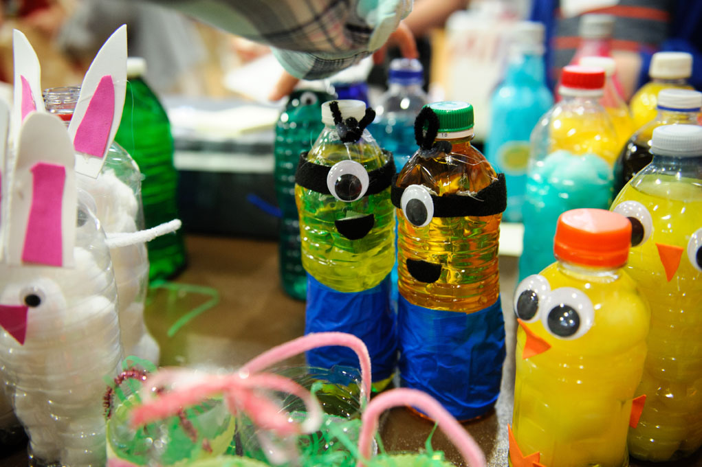 Crafts on a table resembling minions from the Despicable Me movies.