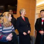 Dr. Alison Morrison-Shetlar speaks with students during a reception