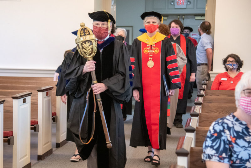 The Baccalaureate stage party processes into Snidow Chapel