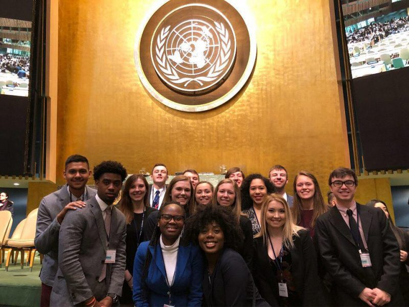Lynchburg College students gathered in the United Nations building