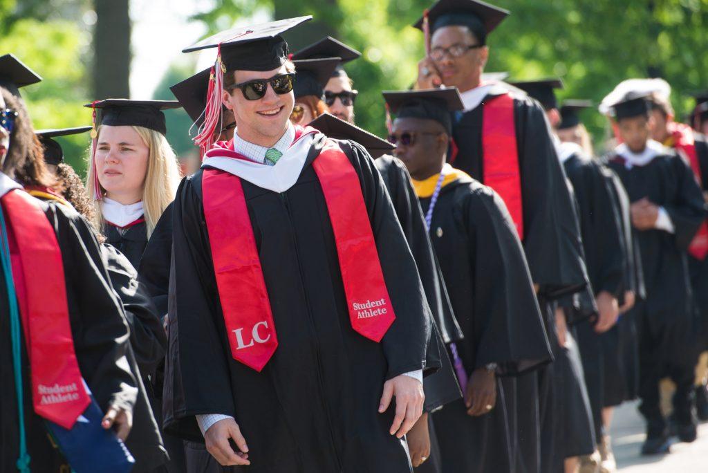 Graduates walking in procession