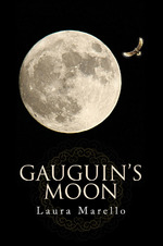 Gaugin's Moon book cover. Contains the title of the book and features a bird flying around the moon.