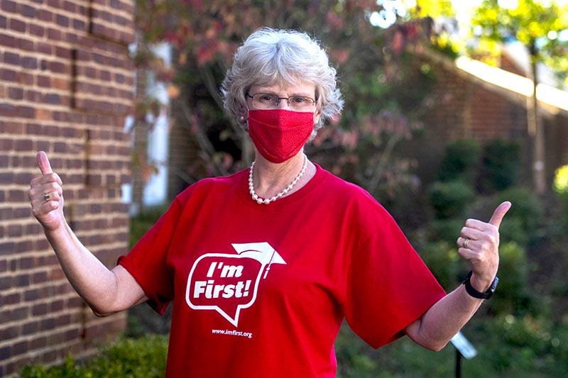 President Alison Morrison-Shetlar in I'm First T-shirt