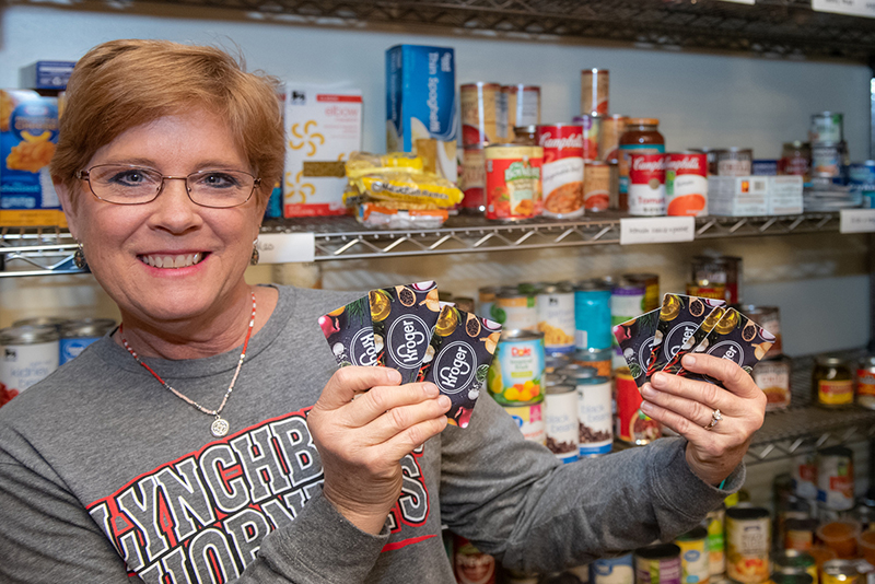 Annette Stadtherr in food pantry