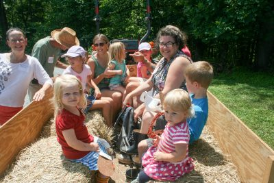 Families prepare to enjoy a hayride at the Claytor Nature Center