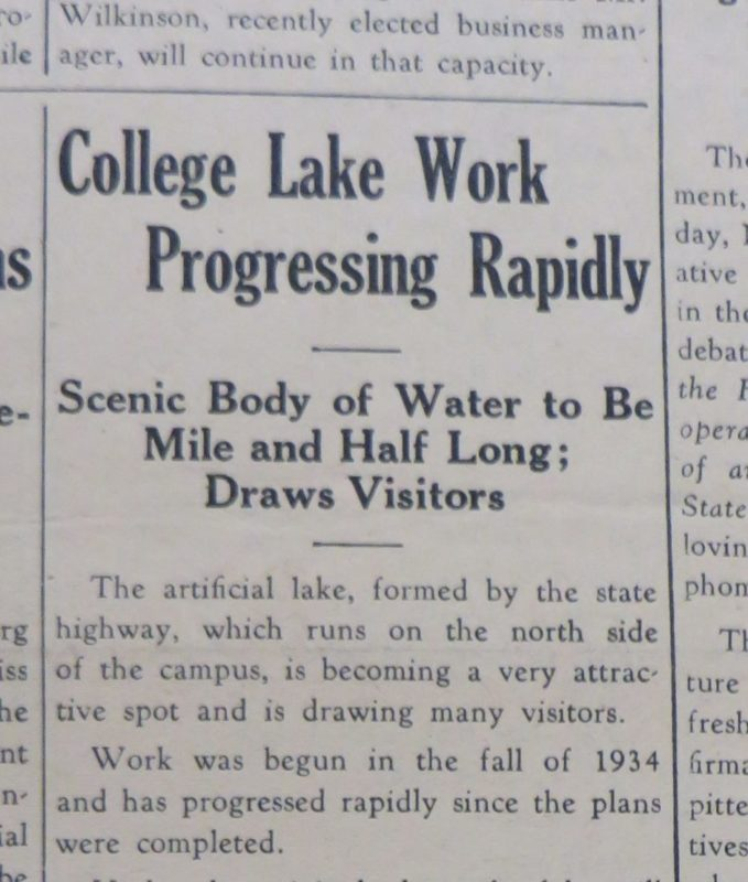"""An image of a newspaper article describing the beginning of work on College Lake. """"College Lake Work Progressing rapidly"""" the headline reads."""