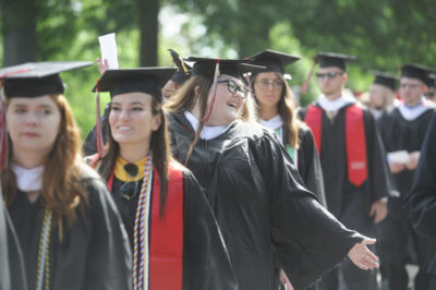 Graduates line up at Commencement