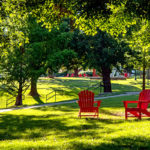 Several red chairs on the Dell