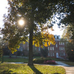 Hobbs-Sigler Hall and dell in fall