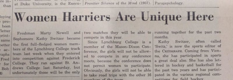 "Photo of a newspaper article with the headline, ""Women Harriers Are Unique Here"""