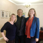 Jennifer Hall and Erica Mork with the president of Kazakh American Free University