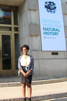 Ashani Parker standing in front of the natural history museum