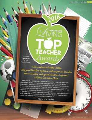 Lynchburg Living Top Teachers page. Describes the importance of teachers and how the 25 teachers in the Top Teachers feature were nominated by community members and selected by judges.
