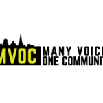 "Logo for the group ""Many Voices One Community"""