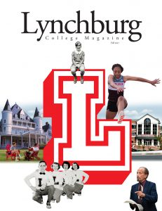 Cover of Lynchburg College Magazine, featuring a large block L and photos from different eras of the College's history.