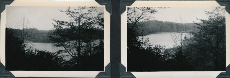 Two side-by-side pictures showing College Lake from different angles.