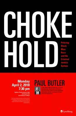 Poster with details about Paul Butler lecture to be held Monday, April 2, at 7:30 p.m. in Sydnor Performance Hall