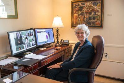 President Alison Morrison-Shetlar in her office during a virtual open forum