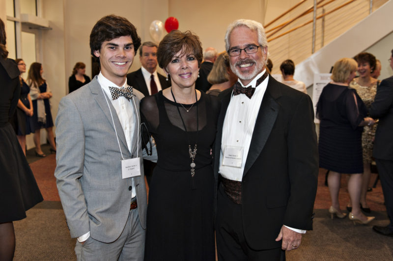 Matthew, Sue and Andy Tatom at the Drysdale Student Center Gala in 2014