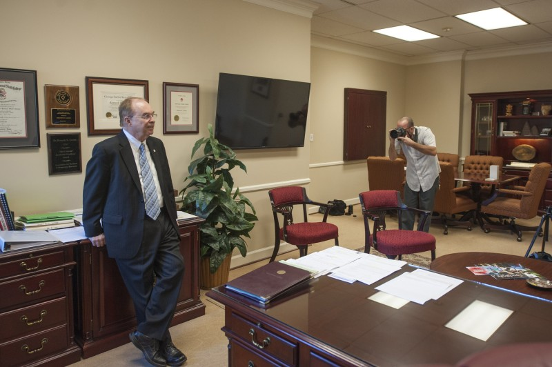 University of Lynchburg President Dr. Kenneth Garren being photographed for the Wall Street Journal.