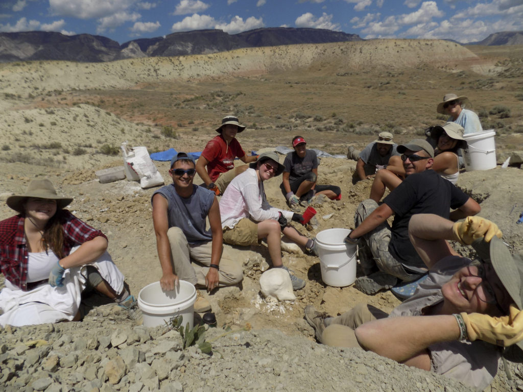 Students at the fossil dig in Wyoming