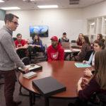 Dr. Adam Dean talks to students in a Civil War class