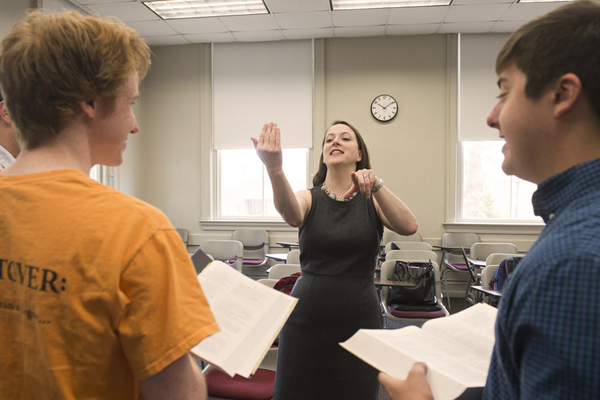 Dr. Robin Bates coaching students in the reading of Shakespeare