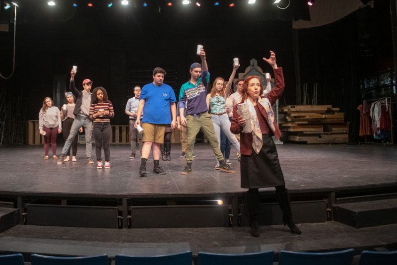 "Loretta Wittman teaches students choreography for the ""Coffee in a Cardboard Cup"" musical theatre performance"
