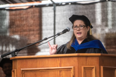 Virginia Cylke speaking at podium