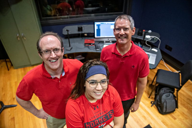 Hannah Belayachi with Mike Robinson and Ken Wagner in a sound recording studio