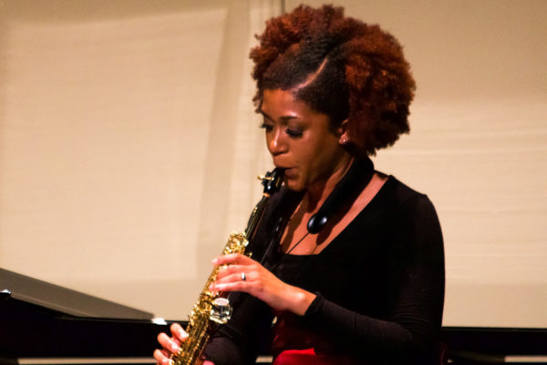 Renee Banks '19 plays saxophone
