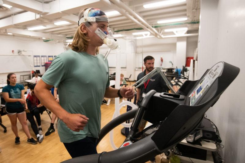 Ryder Robins Governor's School student on treadmill