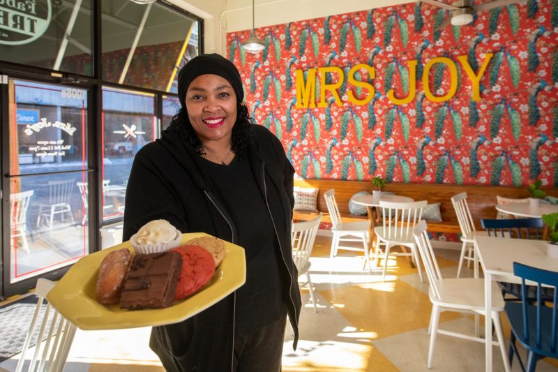 Tarsha Joyner '13 in her bakery Mrs. Joy's Absolutely Fabulous Treats