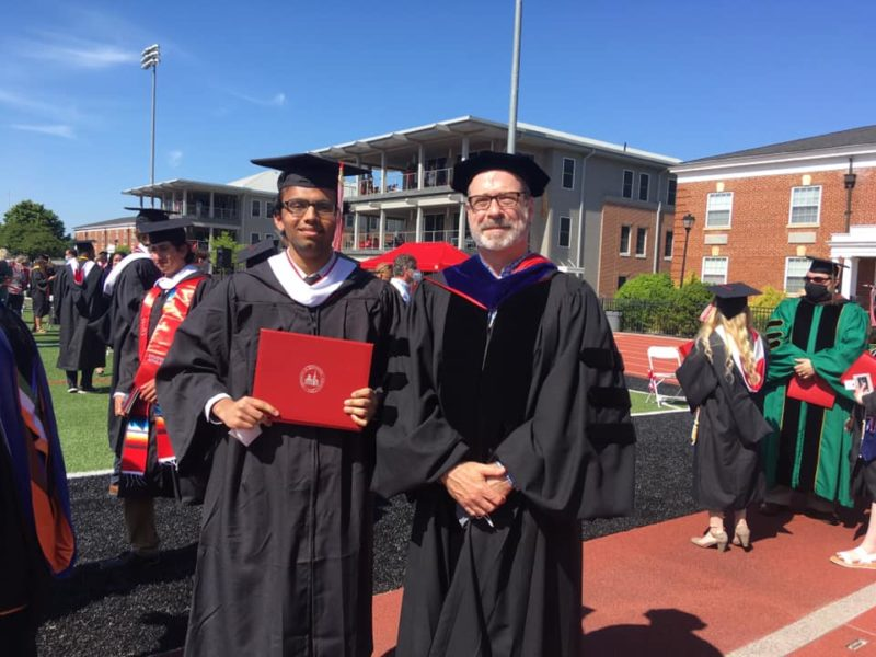 Vedant Patel '21 with Dr. David Richards