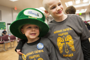 Two children at a St. Baldrick's event