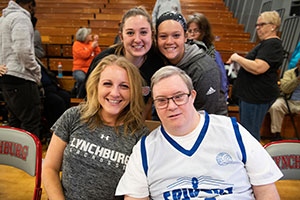 University of Lynchburg students and Special Olympics participant in Turner Gymnasium