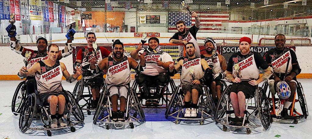 Maryland Thunder wheelchair lacrosse team celebrates