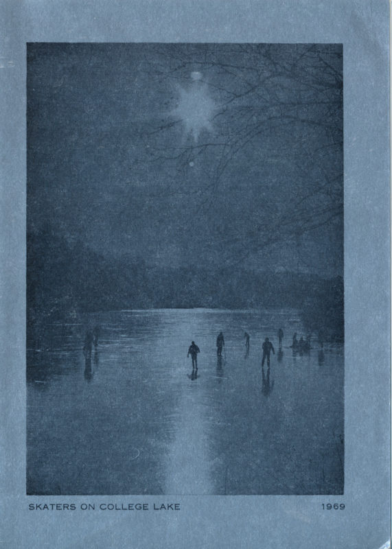 A Christmas Card showing skaters on College Lake