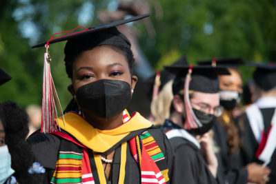 Class of 2021 graduate in mask