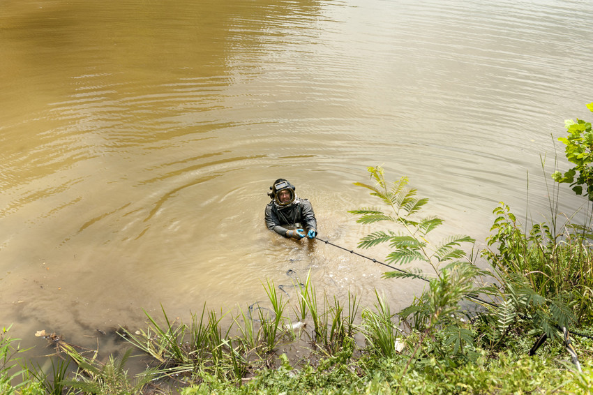 A diver comes up out of College Lake