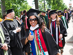 Procession line of students at Commencement 2017
