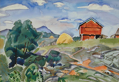 "Pierre Daura's painting ""Red Barns and Haystack"""