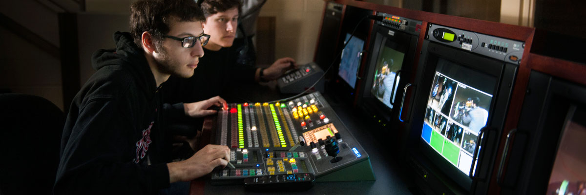 Students working in the Rex Mix Television Studio