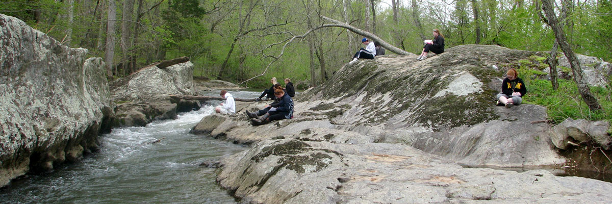 Students studying at the Claytor Nature Center.
