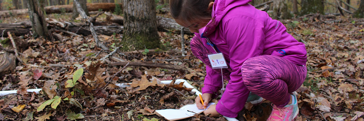 A girl kneeling in the woods, and writing in a notebook