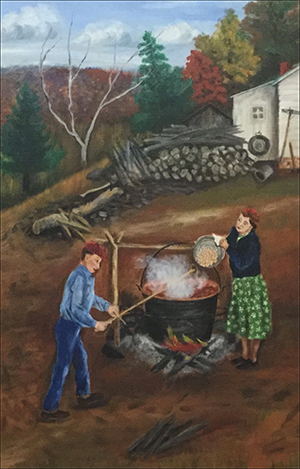Image of painting by Queena Stovall - Making Apple Butter (1951)